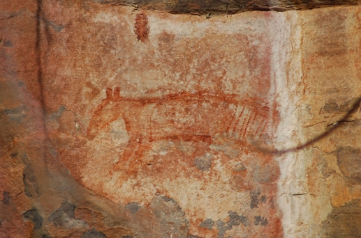 Thylacine_rock_art_at_Ubirr