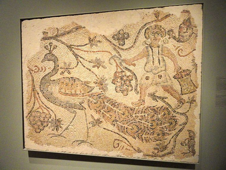800px-Fragment_of_a_Floor_Mosaic,_Grape_Harvester_and_Peacock,_400s_AD,_Byzantium,_northern_Syria,_marble_-_Cleveland_Museum_of_Art_-_DSC08437