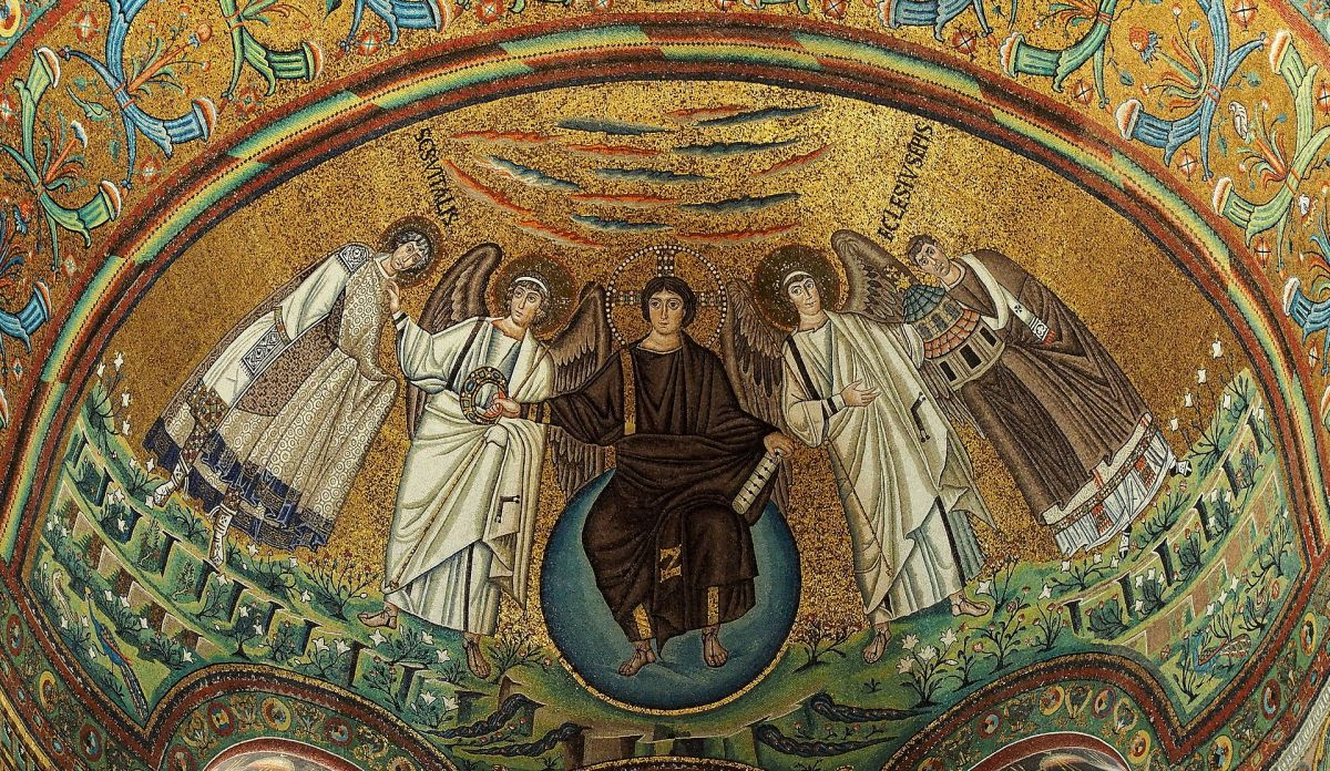 501 Treasures of Byzantium: No. 68. Choir and apse of San Vitale with mosaic of Christ in Majesty, circa 532-548 CE, Ravenna, Italy.